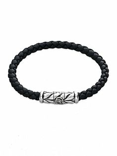 Rubberized- David Yurman Sterling Silver & Braided Rubber Bracelet #davidyurman
