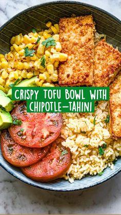 Tofu Recipes, Dairy Free Recipes, Vegetarian Recipes, Healthy Recipes, Crispy Tofu, Food Bowl, Vegan Foods, Veggie Dishes, Tahini