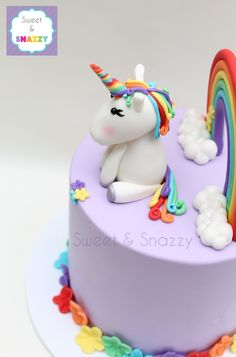 Rainbow Unicorn Cake topper - fondant rainbow and unicorn cake topper by Sweet & Snazzy https://www.facebook.com/sweetandsnazzy