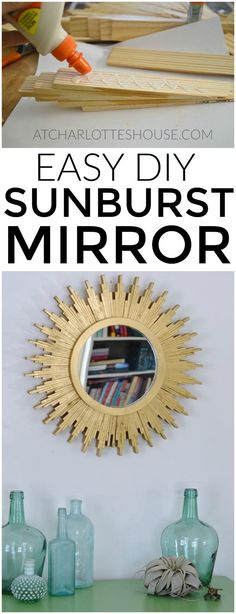How to create a DIY sunburst mirror out of wood shims... this is SO easy and looks like something you might see in a catalog!