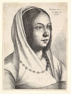 Young Woman with a Scarf on Her Head, after Bonsignori Wenceslaus Hollar (Wenzel Vaclav) (Bohemian, Prague 1607–1677 London) Date: ...