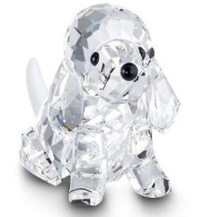Poodle Sitting Swarovski Crystal Figurine, Clear with Black Eyes and Nose.