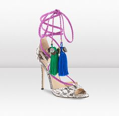 As featured in the Spring Summer 13 Ad campaign, DREAM epitomizes the free-spirited nature of the collection. Each shoe features multi-colour tassels adorned with exclusive Jimmy Choo hardware. Heel height  measures 120mm/4.8