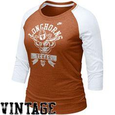 Nike Texas Longhorns Ladies Burnt Orange-White Vault Raglan Three-Quarter Length Sleeve T-shirt