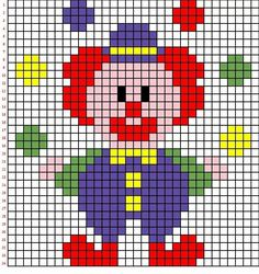 Carnevale Pagliacci in Pixel Art Xmas Cross Stitch, Cross Stitch Cards, Cross Stitch Baby, Simple Cross Stitch, Cross Stitch Animals, Cross Stitching, Knitting Charts, Baby Knitting Patterns, Hand Embroidery Patterns