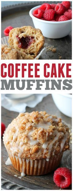 Coffee Cake Muffins - Perfect little muffins with a raspberry filling and sweet vanilla glaze!