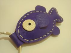 Karen the Fish Leather Keychain  Bright Purple  by leatherprince, $16.90