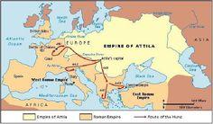 Empire of Attila the Hun Roman History, European History, World History, Ancient Rome, Ancient History, Attila The Hun, Alternate History, Historical Maps, Cartography