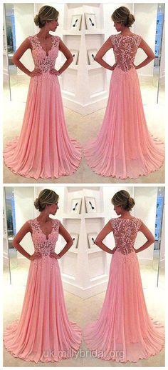V-neck Prom Dresses Pink,Long Formal Dresses Chiffon, Sweep Train Appliques Lace Prom Dresses Modest