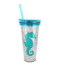 Seahorse and Silver Glitter 22 oz. Double Wall Tumbler with Straw #F146776