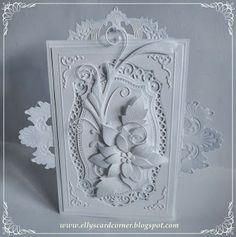 10/4/13. Elly's Card Corner: Spellbinders Labels 25, Gold Circles, Poppystamps Blooming Poinsettia, Memory Box Gwyneth Flourish.