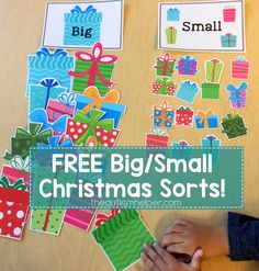 Try Sarah's Big/Small Present Sort & Big/Small Christmas Cookie Sort today! Just laminate & cut out all the pieces for each sort! From theautismhelper.com #theautismhelper