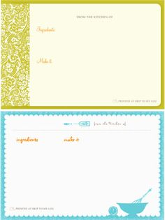 Create & print Recipe Cards using Skip to my Lou's Recipe Card Maker - - Allows you to select your card design and card size. Next, type your ingredients, directions, and print!