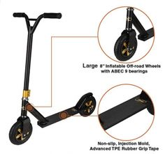 Xspec Aluminum Pro Stunt Dirt Kick Scooter Offroad Tires All Terrain Mountain, Matte Black & Gold, Oversized BMX Handlebars with Clamp, Freestyle Fun Kids Outdoor Sports, Gold-Offroad Off Road Scooter, Dirt Scooter, Moped Scooter, Scooter Girl, Off Road Wheels, Off Road Tires, Offroad, Bmx Handlebars, Scooter Custom