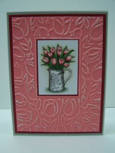 Stampin Up Handmade Greeting Card: Mother's Day Card, Mom's Birthday, Easter Card, Spring Card, Note Card, Thank You Card, Pink Tulips