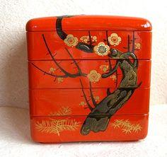 Vintage Japanese 4 Layered Big Bento Box - Plum Blossoms