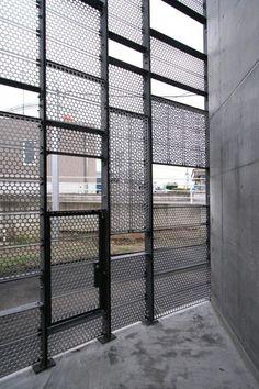 031_08_Nagaizumi. Powder coated perforated steel screen.: