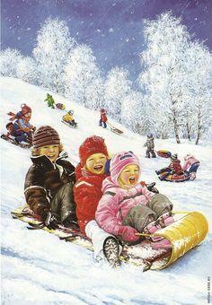 """Winter fun"" by Love Novoselov. Christmas Scenes, Christmas Pictures, Christmas Art, Vintage Christmas, Illustration Noel, Christmas Illustration, Winter Szenen, Winter Time, Winter Images"