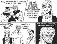 Joseph Joestar, always thinking about his daughter. Jojo's Bizarre Adventure, Joseph Joestar, All The Things Meme, Random Things, Jojo Memes, Lol, Light Novel, Jojo Bizarre, Me Me Me Anime