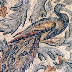 "Name: Peacock<br /> Style: Roman African<br /> Product Number: CBRAM3PEACOCK (19""x19"")<br /> Description: Roman African Peacock with Acanthus Leaves in hand chopped tumbled Verde Luna, Verde Alpi, Bardiglio, Botticino, Travertine Noce, Nero Marquina, Rosa Verona, Giallo Reale, Renaissance Bronze, Emperador Dark, Travertine White, Blue Bahia."