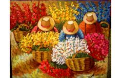 Pinturas al oleo Acrylic Painting Lessons, Love Painting, Acrylic Painting Canvas, Mexican Paintings, Peruvian Art, Learn Art, Mexican Art, Flower Market, Colorful Pictures