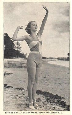 Vintage Postcard - Bathing Girl Isle of Palms