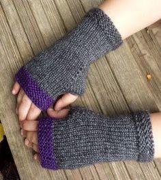 Brei paars en grijs Vingerloze handschoenen - Arm Warmers - polswarmers - Fingerless wanten - uitverkoop