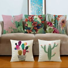 Tropical Plants Cactus Potted Printing Cotton Hemp Pillow Case Home Office Cushion Cover Small Pillows, Sofa Throw Pillows, Cushions, Bed Sofa, Sofa Chair, Pom Pom Crafts, Toilet Paper Roll Crafts, Button Crafts, Decorative Pillow Covers