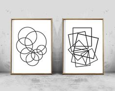 Contemporary black and white, abstract geometric prints set. Includes two minimalist posters. Hello, we are White Orchid Prints, designers of contemporary printable wall art inspired by simplicity and beauty of Minimalist design and abstract geometry found in nature. We offer a variety of images from mid century modern, minimalist and geometric art, to nature photography and Scandinavian/Nordic style wall art. ____________  Upon purchase you will receive two digital files containing a hi...