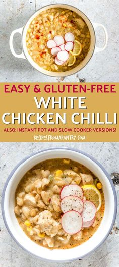 Say hello to your new favourite chilli recipe! This White Chicken Chili (White Chicken Chilli) recipe is SO good and SO easy to make. Also includes an Instant Pot recipe and slow cooker recipe. via Recipes From A Pantry Chicken Appetizers, Appetizer Recipes, Chicken Recipes, Best Chili Recipe, Chilli Recipes, Lunch Recipes, Breakfast Recipes, Dinner Recipes, Free Recipes