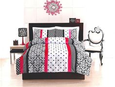 Girl Teen Kid Black White Pink Dot Stripe Damask Twin Full Comforter Bed Set | eBay