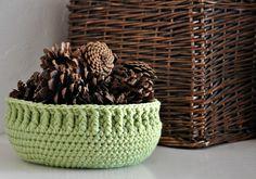 Green Bowl Ribbed Basket Catchall Storage Bin by AandBDesignStudio