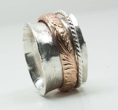Sterling Silver Spinner Ring Gold Accents Fidget Ring by UrbanJule, $85.00