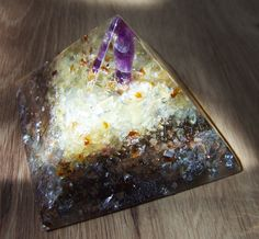 orgonite orgone energy pyramid with amethyst, citrine, honey calcite, turmaline