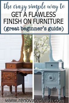 Whether your style is whimsical, funky or farmhouse, here's the easiest way to refinish antique furniture without brush strokes or streaks. This post & video tutorial also explains how to spray furniture knobs and handles with metallic spray paint. Included are color ideas & the best kind of paint for wood furniture: chalk paint vs. milk paint vs. latex paint. I also address if you can paint furniture without sanding. Glazing Furniture, Spray Paint Furniture, Painting Antique Furniture, Diy Home Furniture, Furniture Knobs, Furniture Refinishing, Diy Furniture Projects, Farmhouse Furniture, Colorful Furniture