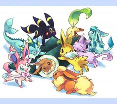 Eevee evolution, sushi, Umbreon, Sylveon, Espeon, Flareon, Jolteon, Glaceon, Leafeon, Vaporeon, cute; Pokemon