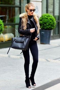 all black with leather accents