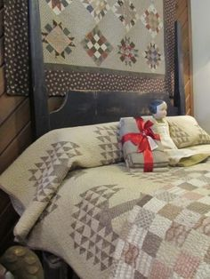 Pine Tree Quilt shown on Country Sampler blog. Love checkerboard quilt on bed. (love colors)