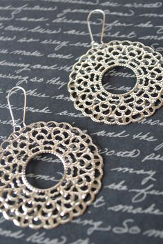 Silver Lacy Circle Earrings, Metal Filigree Boho Earrings, Bohemian Hippie Chic Earrings