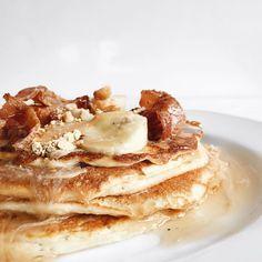 Peanut Butter + Banana + Bacon Protein Pancakes