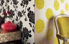 Wallpapering with fabric!  Liquid starch adheres it, dampening it takes it off, and soapy water will clean the starch off. Flock Wallpaper, Modern Wallpaper, Fabric Wallpaper, Designer Wallpaper, Interior Wallpaper, Temporary Wallpaper, Diy Casa, Up House, Idee Diy