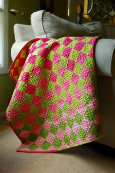 Ombre baby girl quilt in pink and green - Simply Color fabrics by V and Co.