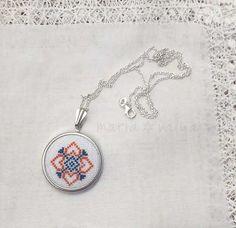 Necklace Orange & Blue Embroidered pendant от SlavaStitches
