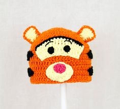Tigger Hat from Winnie the Pooh, Orange Crochet Beanie, send size choice baby - adult