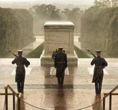 Soldiers currently at the Tomb of the Unknowns in Arlington, VA. in the midst of Hurricane Sandy.  Our heros!
