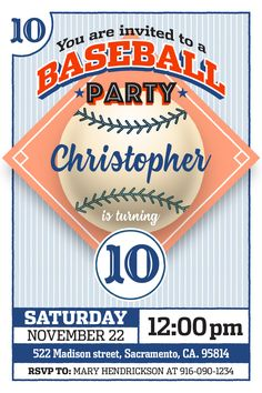 Baseball Party Party invitation for instant download at #etsy shop 'Ideas2Print' #partyprintables #party #baseball #instantdownload