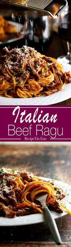 Cooked Shredded Beef Ragu Pasta This is spectacular. Takes time to cook but it is really easy to prepare! Leftovers perf for freezing. Takes time to cook but it is really easy to prepare! Leftovers perf for freezing. Slow Cooker Recipes, Crockpot Recipes, Cooking Recipes, Beef Brisket Slow Cooker, Easy Recipes, Rib Recipes, Italian Dishes, Italian Recipes, Italian Beef