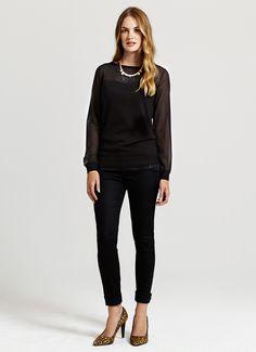 Black Sheer Sleeve Knit | Partywear | MintVelvet