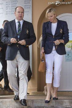 Prince Albert II & Princess Charlene of Monaco, Princess Stephanie, Princess Caroline, Royal Fashion, Fashion 2017, Womens Fashion, Royal Blue Outfits, Grace Kelly Wedding, Princesa Charlene, Monaco Royal Family