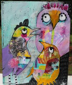 """11x14 Mixed Media Collage Acrylic Painting  Bird Family """"The Early Bird Catches the Worm""""  on wood by Jodi Ohl"""